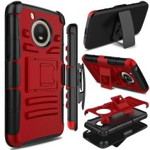Motorola Moto E4 Case, Moto E 4th Generation Case, Zenic Full-Body Heavy Duty Shockproof Protective Hybrid Case Cover with Swivel Belt Clip and Kickstand for Moto E4 / G5 (Red)