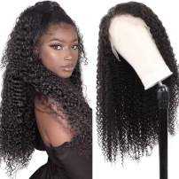ALIPOP Kinky Curly Lace Front Wig for Women, 100% Real Brazilian Human Virgin Hair 13x4 Swiss Lace 18 Inch Long Curly Pre Plucked Wig with Baby Hair (18 inches)