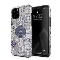 BURGA Phone Case Compatible with iPhone 11 PRO - White Gold Marble Blue Moroccan Tiles Pattern Mosaic Cute Case for Girls Heavy Duty Shockproof Dual Layer Hard Shell + Silicone Protective Cover