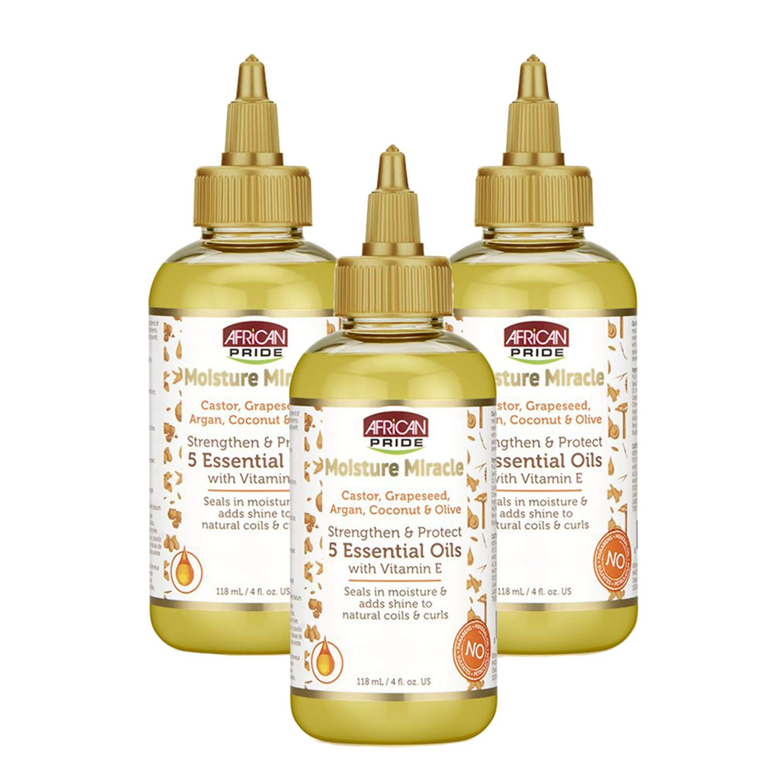 African Pride Moisture Miracle 5 Essential Oils (3 Pack) - Contains Castor, Grapeseed, Argan, Coconut & Olive Oil, Seals in Moisture & Adds Shine, Vitamin E, 4 oz