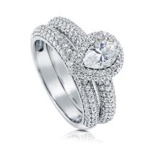 BERRICLE Rhodium Plated Sterling Silver Pear Cut Cubic Zirconia CZ Halo Engagement Wedding Ring Set 1.55 CTW