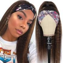 18 Inch Hihlights Headband Wig Kinky Straight Human Hair Wigs for Black Women Brazilian Remy Human Hair #4/27 Brown Yaki Straight Wig None Lace Front Wigs Natural Color Headband Wig Human Hair