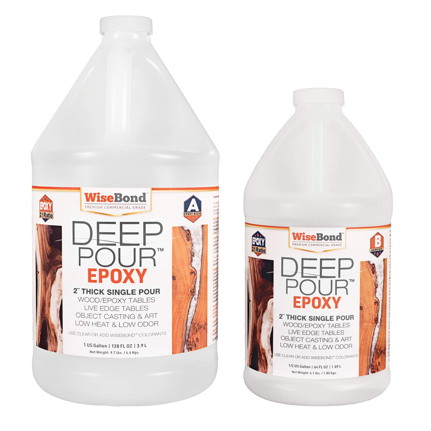 """WiseBond DEEP Pour 2"""" Thick Single Pour Epoxy Resin for River Tables, Live Edge Slabs, Lathe Turning, Molds and Art Casting, 2 Part 1-1/2 Gallon 2:1 Ratio Kit, Pour Crystal Clear or Easily Tint"""