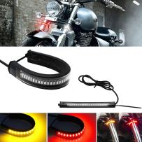 GTinthebox 2PC Flexible Switchback Dual-Color Red & Amber LED Fork Turn Signal DRL Daytime Running Light Waterproof Adjustable Stips Bars kit Universal Fit Motorcycle Bike