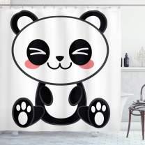 "Ambesonne Anime Shower Curtain, Cartoon Smiling Panda Fun Animal Theme Japanese Manga Kids Teen Art Print, Cloth Fabric Bathroom Decor Set with Hooks, 84"" Long Extra, White and Black"