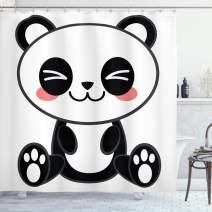 "Ambesonne Anime Shower Curtain, Cartoon Smiling Panda Fun Animal Theme Japanese Manga Kids Teen Art Print, Cloth Fabric Bathroom Decor Set with Hooks, 70"" Long, White and Black"