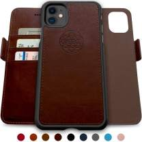 Dreem Fibonacci 2-in-1 Wallet-Case for iPhone 11, Magnetic Detachable Shock-Proof TPU Slim-Case, RFID Protection, 2-Way Stand, Luxury Vegan Leather, Gift-Box - Coffee