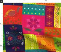 Spoonflower Fabric - Mexican, Embroidery Look, Rainbow, Fiesta, Bright, Colourful, Cheater Printed on Lightweight Cotton Twill Fabric by The Yard - Sewing Bottomweight Fashion Apparel