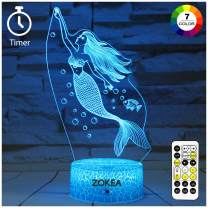 ZOKEA Mermaid Toys, Night Lights for Kids 7 Colors Changing Mermaid Night Light with Timer & Remote Control & Smart Touch, Mermaid Gifts for Girls Age 2 3 4 5 6 7+ Year Old Girl Gifts
