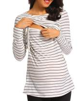 Ritera Maternity Dress Shirt Top Nursing Nightgown Strip Breastfeeding Nightshirt