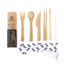 Bali Boo Bamboo Cutlery Set Zero Waste Travel & Camping Utensils Set - Eco Friendly Flatware Set - Kids Cutlery - Reusable Bamboo Spoon, Fork, Knife, Chopsticks, Straw, Brush & Travel Pouch