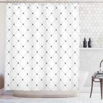 "Ambesonne Fleur De Lis Shower Curtain, Shabby Form Style Damask Pattern with Vintage Geometric Diamond Lines, Cloth Fabric Bathroom Decor Set with Hooks, 84"" Long Extra, Black White"