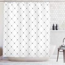 "Ambesonne Fleur De Lis Shower Curtain, Shabby Form Style Damask Pattern with Vintage Geometric Diamond Lines, Cloth Fabric Bathroom Decor Set with Hooks, 84"" Long Extra, Black White"