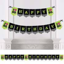 Big Dot of Happiness 80's Retro - Totally 1980s Birthday Party Bunting Banner - Birthday Party Decorations - Happy Birthday