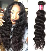 Dinoce Compatible with Longqi Beauty Brazilian Natural Wave Virgin Hair 1 Bundle Unprocessed Remy Human Natural Wavy Hair Weave, Natural 1b Color Can Be Dyed, 100g (14 Inches)