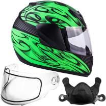 Typhoon Helmets Youth Kids Full Face Snowmobile Helmet DOT Dual Lens Snow Boys Girls - Matte Green (Large)