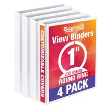Samsill Economy 3 Ring Binder Organizer, 1 Inch Round Ring Binder, Customizable Clear View Cover, White Bulk Binder 4 Pack
