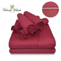 Victoria Valenti Embossed Sheet Set with 2 Pillow Cases, Double Brushed and Ultra Soft with Deep Pockets for Extra Deep Mattress, Microfiber, Hypoallergenic TW Burgundy