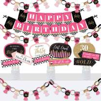 Big Dot of Happiness Chic 30th Birthday - Pink, Black and Gold - Banner and Photo Booth Decorations - Birthday Party Supplies Kit - Doterrific Bundle