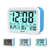 jiemei Digital Alarm Clock, Talking Alarm Clocks for Kids and Adults, Battery Operated, 4.5'' Display, Smart Backlight, 3 Alarms, 7 Rings, Good Gift Choice (Blue)