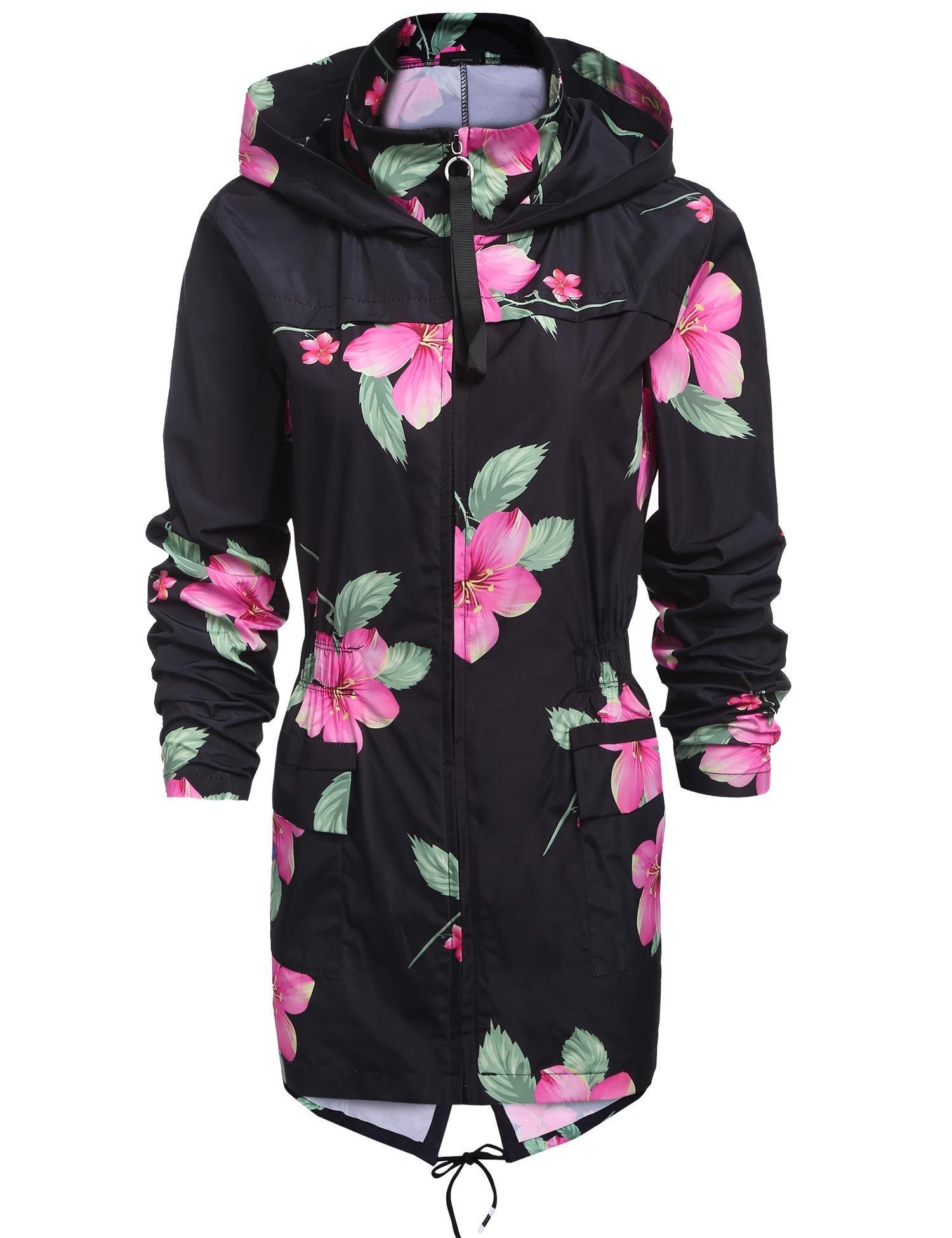 SoTeer Women's Raincoat Outdoor Hooded Packable Rain Jacket Waterproof Windbreaker S-XXL