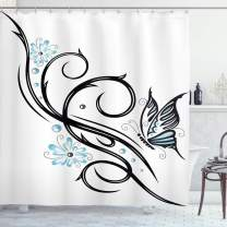 """Ambesonne Tattoo Shower Curtain, Leaf Like Design with Blue Flowers and a Flying Butterfly Image Print, Cloth Fabric Bathroom Decor Set with Hooks, 84"""" Long Extra, Blue Black"""