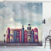 """Ambesonne Fantasy Shower Curtain, City with Old Books Style Buildings Birds and Cloudy Sky Literature Cityscape, Cloth Fabric Bathroom Decor Set with Hooks, 75"""" Long, Red Blue"""