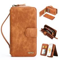 iPhone 6 Plus / 6s Plus Wallet Case, [Magnetic Detachable] PU Leather Mirror Case Protective Flip Folio Zipper Purse Clutch with [11 Card Holder] Book Cover - Brown