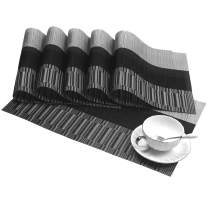 SHACOS Woven Vinyl Placemats for Dining Table Set of 6 Heat Resistant PVC Bamboo Style Kitchen Table Mats (6, Ombre Black Gray)