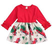 HAPPYMA Toddler Baby Little Girls Christmas Dress Ruffle Long Sleeve Tree Truck Xmas Dresses Outfit