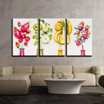 """wall26 - 3 Piece Canvas Wall Art - Bottles of Fruits Smoothies with Various Ingredients on White Wooden Background - Modern Home Decor Stretched and Framed Ready to Hang - 16""""x24""""x3 Panels"""