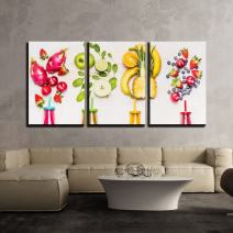 "wall26 - 3 Piece Canvas Wall Art - Bottles of Fruits Smoothies with Various Ingredients on White Wooden Background - Modern Home Decor Stretched and Framed Ready to Hang - 16""x24""x3 Panels"