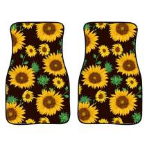 INSTANTARTS 2 Piece Sunflowers Print Fashion Universal Car Mats Polyester Soft Durable Vehicle Floor Mat Fit for Most Cars (Black)