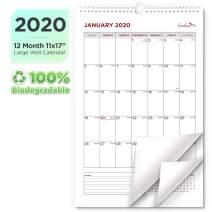 EcoEarth Biodegradable 11x17 Inch Vertical Hanging Wall Calendar, 2020 Calendar Year Monthly Calendar, Classic Art Design
