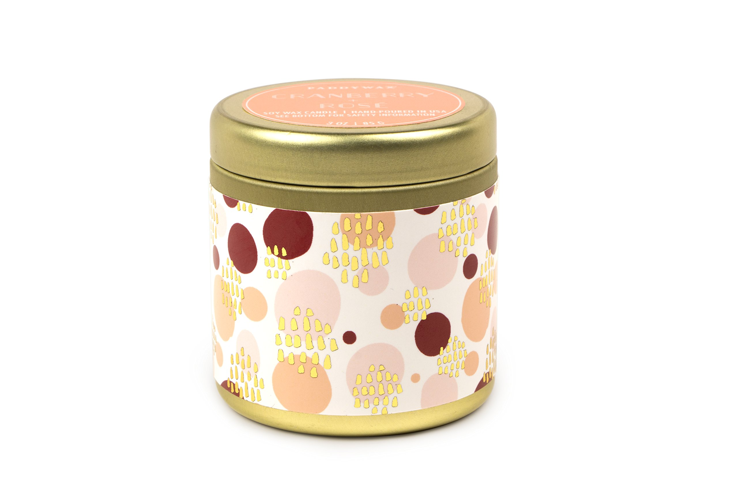 Paddywax Kaleidoscope Collection Scented Travel Tin Candle, 3-Ounce, Cranberry & Rose