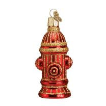 Old World Christmas Ornaments: Fire Hydrant Glass Blown Ornaments for Christmas Tree (36038)