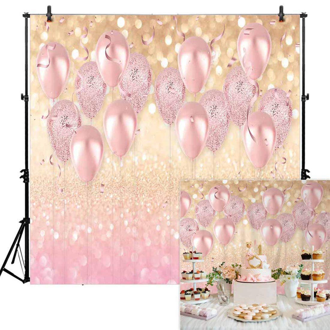 Allenjoy 8x8ft Durable Soft Fabric Rose Gold Party Decorations Pink Balloon Glittter Bokeh Photo Backdrop Birthday Baby Bridal Shower Bachelorette Party Supplies Photography Background Studio Props