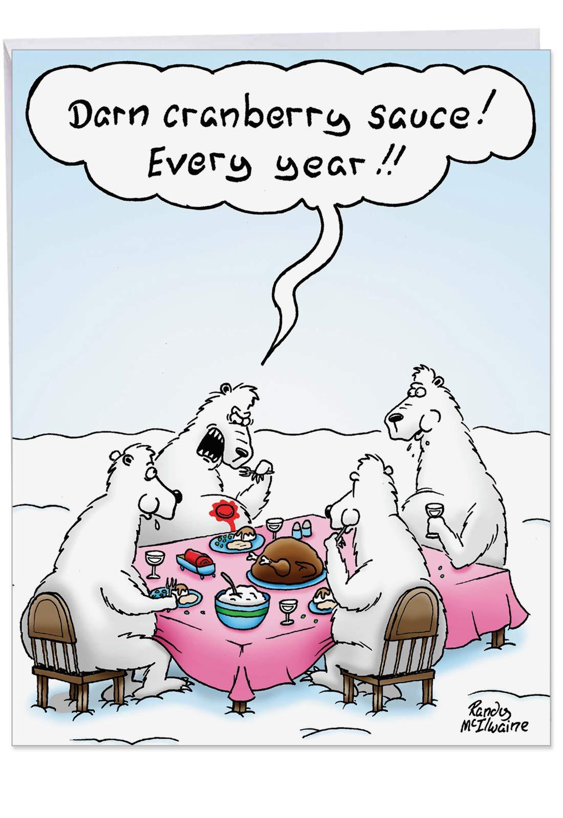 NobleWorks, Darn Cranberry Sauce - Jumbo Christmas Funny Card with Envelope (8.5 x 11 Inch) - Funny Polar Bear Xmas Dinner J4524XSGC