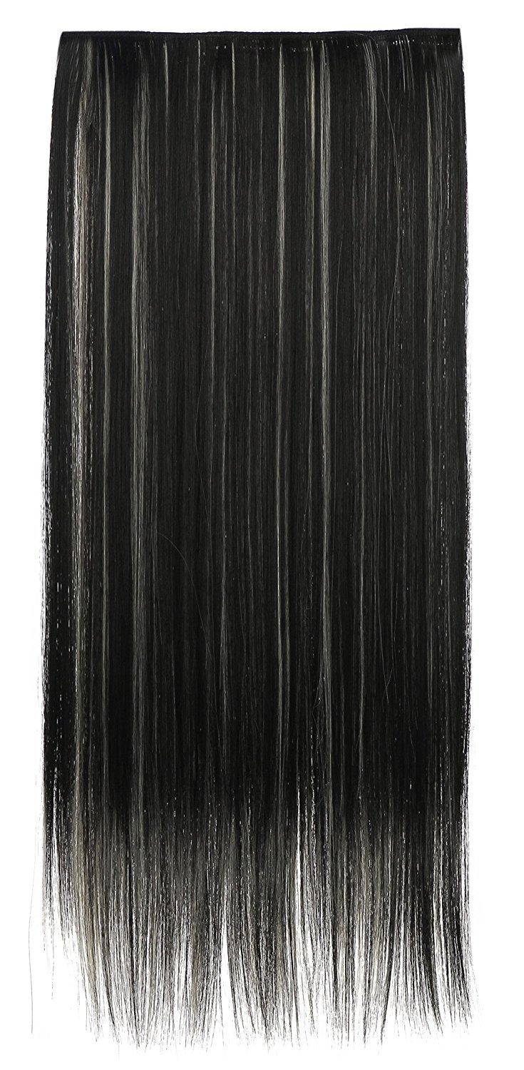 """SARLA 24"""" Straight 1Pc 3/4 Full Head Clip In Hair Extension Synthetic Hair Extensions Japan Heat Resistant Fiber 50 Colors Available 666(1BH613#)"""
