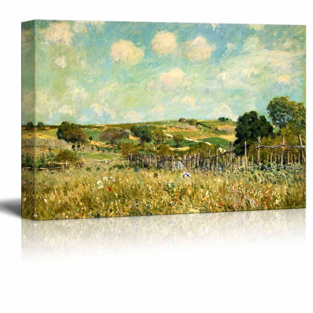 """wall26 - Meadow by Alfred Sisley - Canvas Print Wall Art Famous Painting Reproduction - 12"""" x 18"""""""