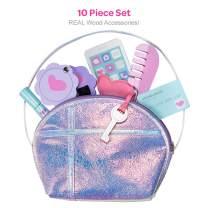 Adora Pretend Play Big Girl Purse Set, 10Piece, Real Wooden Accessories (Phone, Lipstick, Mirror, Brush, Credit Card, Key & Comb), Multicolor
