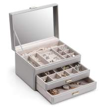 Vlando Jewelry Organizer Valentine's day for Women Girls,Rimless 3 Layer Mirror Jewelry Box with 2 Drawers Gift for Her(Grey)