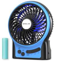 OPOLAR Portable Travel Mini Fan with 3-13 Hours Battery Life for Camping, Personal Battery Operated or USB Powered Handheld Fan, Internal Blue and Side Light, 3 Speeds, Quiet, Rechargeable