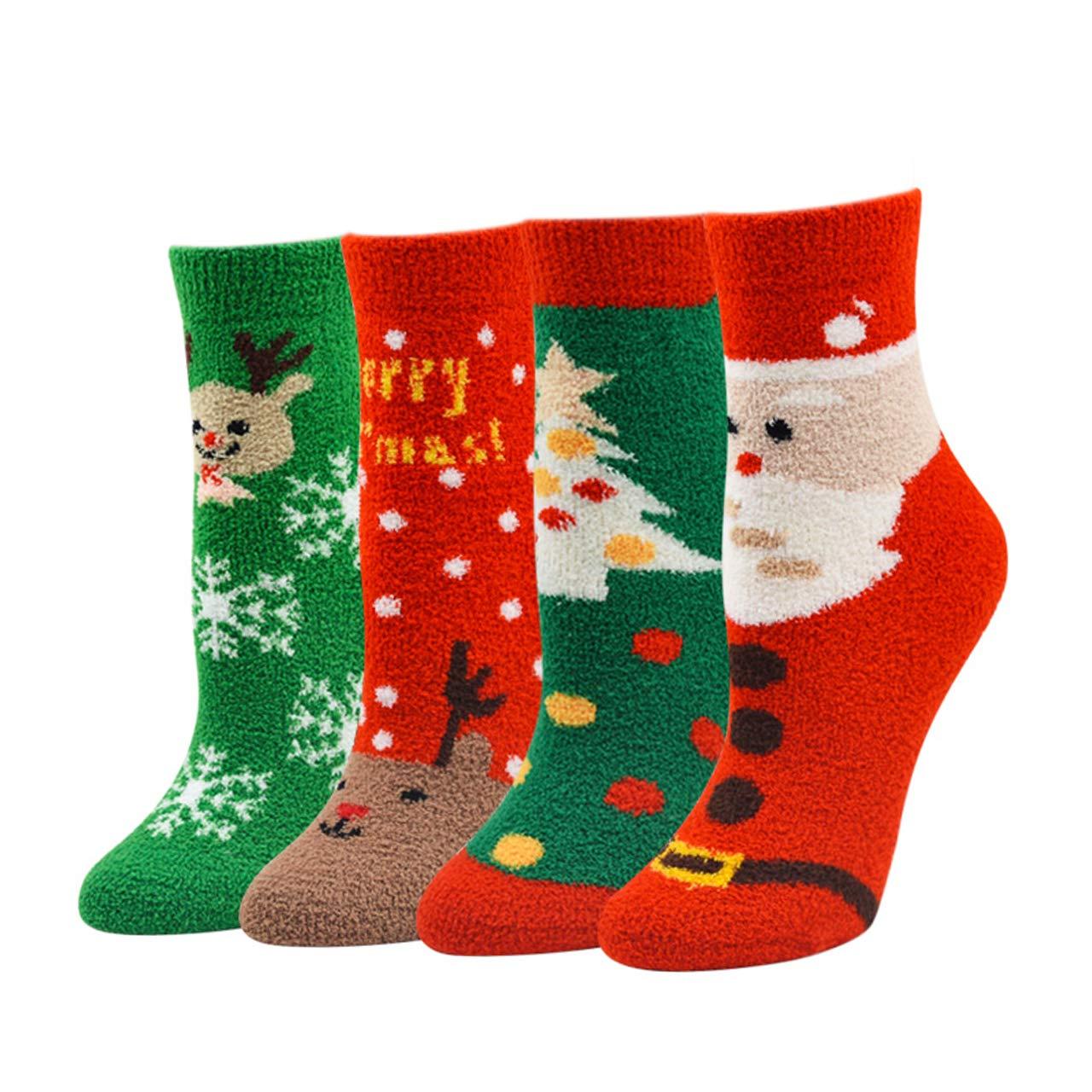 FALETO 4-10 pairs Women Christmas Holiday Fuzzy Fluffy Socks Super Soft Cozy Warm Winter Socks