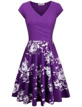 KASCLINO A-Line Dress, Women's Elegant Vintage Floral Cocktail Dress with Pockets Purple XL