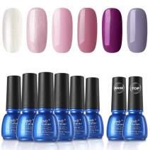 Gel Nail Polish Sets 8 Bottles - Candy Lover Selected 6 Popular Fall Colors Pink Purple Shimmering Pastel with Top Base Coat Set, UV LED Soak Off Nail Gel Polish Home Manicure Varnish Kit