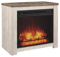 Signature Design by Ashley Willowton Fireplace Mantel with Fireplace Insert Whitewash