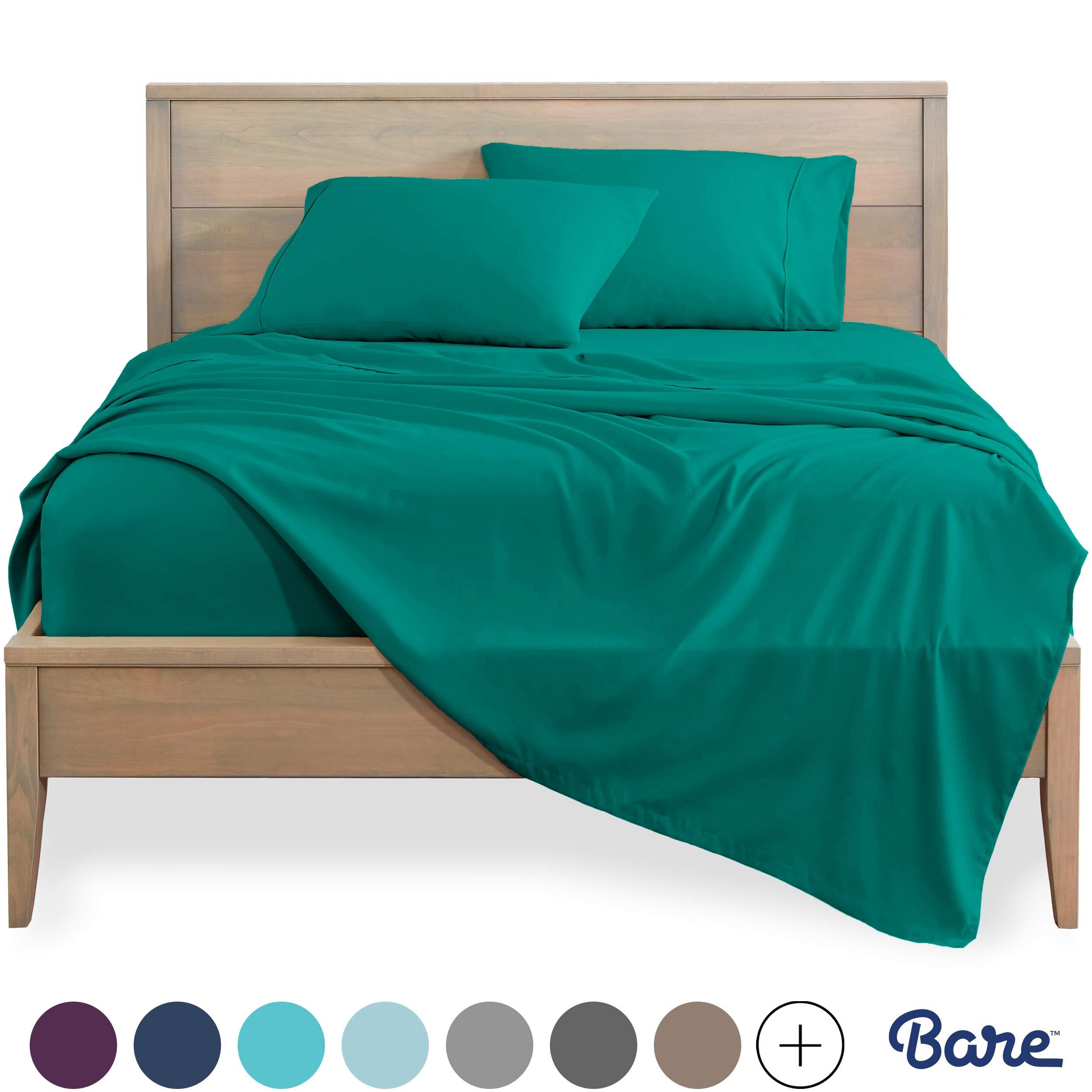 Bare Home Split King Sheet Set - 1800 Ultra-Soft Microfiber Bed Sheets - Double Brushed Breathable Bedding - Hypoallergenic – Wrinkle Resistant - Deep Pocket (Split King, Emerald)