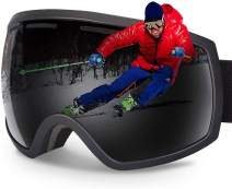 G4Free Ski Snowboard Snow Goggles for Men Women Anti-Fog 100% UV400 Protection Over Glasses Goggles Frameless Spherical Design Detachable Lens System