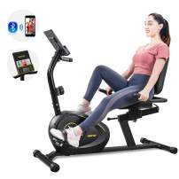 Merax Magnetic Recumbent Exercise Bike with Bluetooth | 8-Level Resistance | Quick Adjust Seat